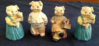 4 Pc. Miniature Village Pig Figurines Carpenter, Sailor Suite, & Mom With Baby