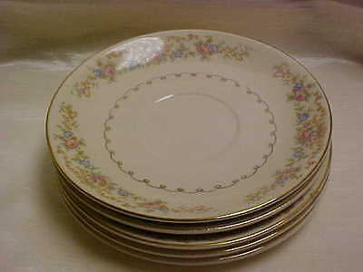 1940's Paden City Pottery China Dinnerware Cream Pink Blue Floral Motif Saucers