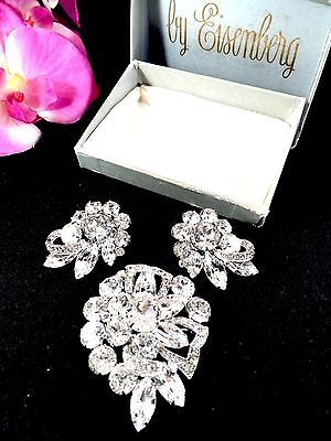 Dazzling Eisenberg Rhodium Crystal Rhinestone Bridal Brooch Earrings Set - Box