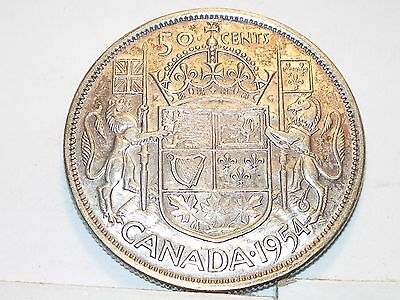 1954 Canada Fifty Cent Silver Queen Elizabeth II