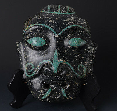 Chinese QiJia Style Turquoise Inlaid Sacrificial Ceremony Big Jade Mask-JR11012