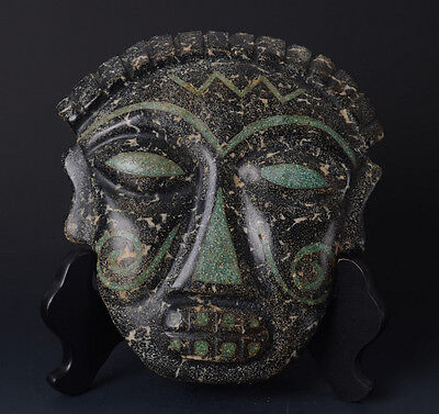 Chinese QiJia Style Turquoise Inlaid Sacrificial Ceremony Big Jade Mask-JR11008