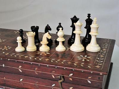 Antique Anglo-Indian Staunton Chess  Set & Nice Inlay Folding  Board