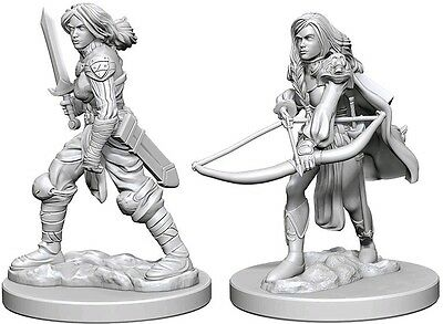 Human Female Fighter - Dungeons & Dragons Pathfinder Primed Unpainted 25Mm Minis