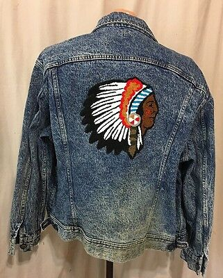 Vintage Lee Denim M/USA Jacket American Indian Chief Chenille Patch L/XL