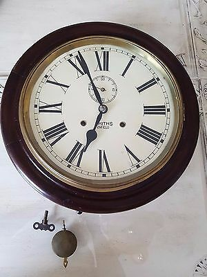Antique station masters wall clock with pendulum and key 1900's