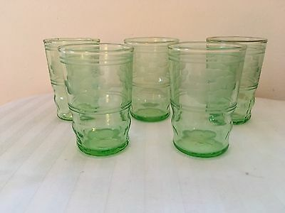 5 Vintage Green Depression Glass Etched Shot/juice Glasses