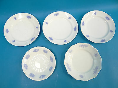 Antique Lot Old Chelsea Adderley Violet Purple White Small Dishes Plates