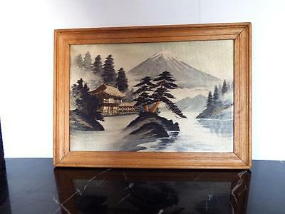 Vintage Chinese landscape silk hand embroidery in a wooden frame circa 50's