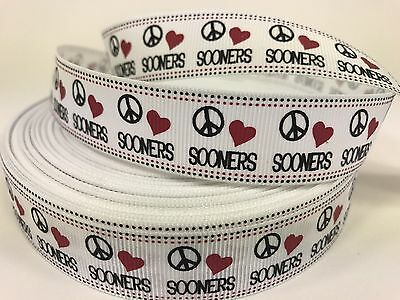 "7//8/"" Wide Hearts White Doves Flowers Grosgrain Ribbon Swirls Peace Signs"