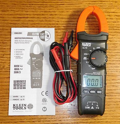 Klein CL110 AC Auto-Ranging 400 Amp Digital Clamp Meter (Never Used)