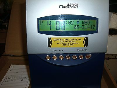 Acroprint ES1000 atomic Calculating Time clock 100 employee with 300 time cards