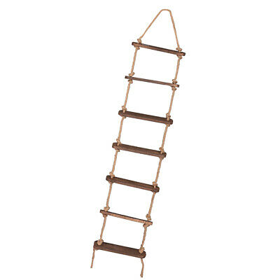 Vintage 7 Rungs Wooden Rope Ladder Wedding Cafe Home Party Decoration