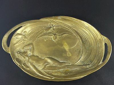 Art nouveau brass nude dish with flowers, moon, owl.  magical mystical