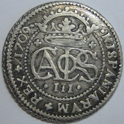 1709 Charles Iii 2 Real Barcelona Mint Spanish Colonial Silver Coin