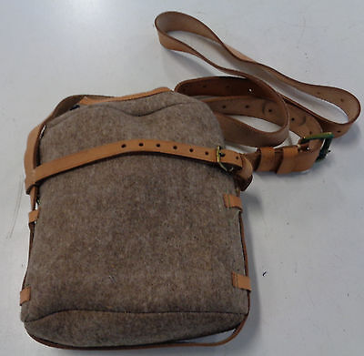 British military medical canteen cover/pouch  1950's  leather & wool unissued.