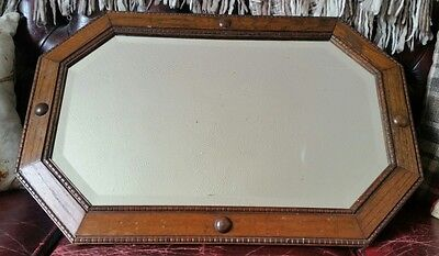 Antique Edwardian Oak Framed Octagonal Mirror Ideal Shabby Chic Project