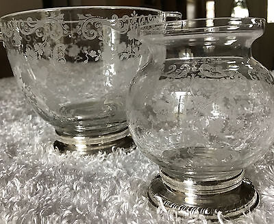 Sheffield Silver Co Sterling Cambridge Chantilly etched Glass Jars