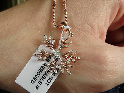 "Charming Real Diamond Snowflake 14K Rose Gold/925 18"" Pendant Necklace"