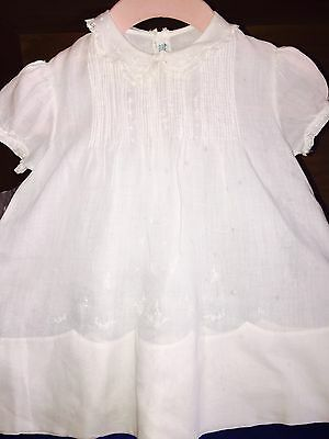 Vintage 1950's White Cotton Baby Dress