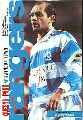 Football Programme - QPR v Swindon Town - FA Cup - 4/1/1993
