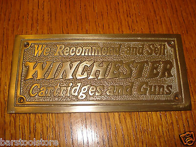 Winchester Store Cartridges and Guns Solid brass plaque sign Out Doors Hunting