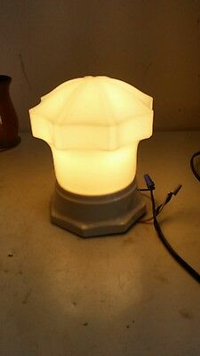 vintage porcelain ceiling light fixture with art deco white glass shade