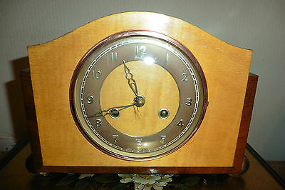 Fine Example Of A Rare Vintage Blonde Striking Mantle Clock ( Working )