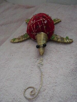 """UNUSUAL TWISTED GOLD WIRE TURTLE PINCUSHION? w/RED TUFTED SHELL-8"""" LONG-LOT #49"""