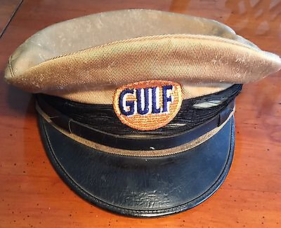 Vintage Gulf Oil Service Station Pump Attendant Gas Advertising Hat Cap.