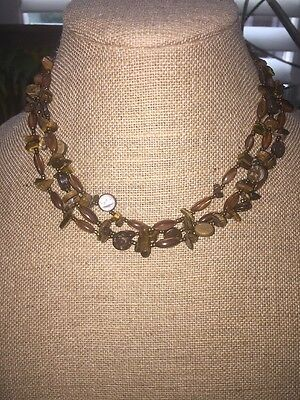 3 Strand Tigers Eye Seed Bead Wooden Disc Necklace
