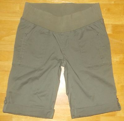 Women's Size S Duo Maternity Khaki Green Roll Up Bermuda Shorts Flap Pockets