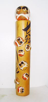 Vintage Asian Wooden Totem Pole Figurine  Beautiful Angry Faces Design Nr