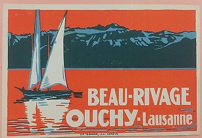 Luggage Label Beau Rivage, Ouchy Lausanne - Switzerland / mint
