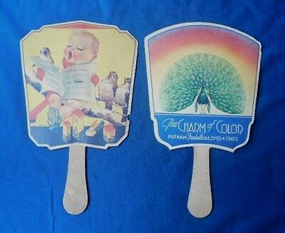 2 Vintage ADVERTISING FANS 666 Tonics, Putnam Dyes, Birds Peacock Cherub Baby