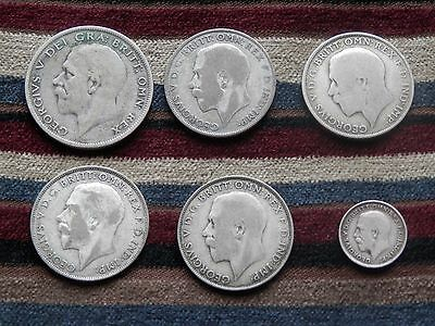 Lot of Six George V Silver & Part Silver Coins (Half Crown,Florin & Threepence)