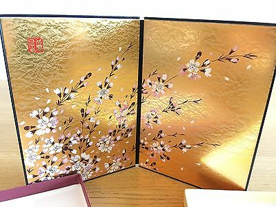 Japanese gold lacquered sakura screen for display cabinet