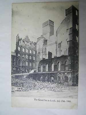 OLD POSTCARD THE GREAT FIRE OF LEEDS 25th JULY 1906