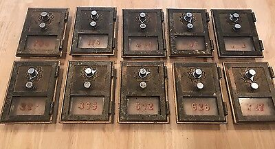 LOT OF 10 VINTAGE US POST OFFICE BRASS MAIL BOX DOOR W/ DIAL Combination Locks