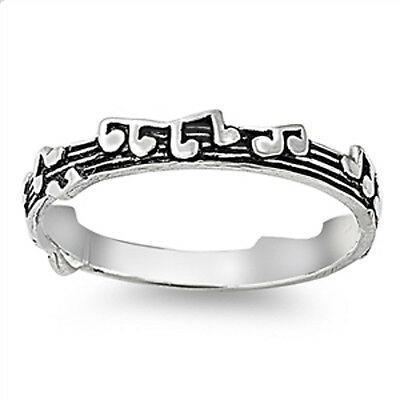 925 Sterling Silver Musical Notes Stacking Stacker Band Ring 3 mm Wide