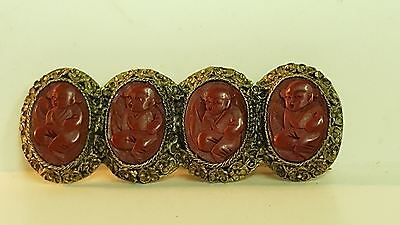 Antique Chinese silver carved cinnabar brooch - pin