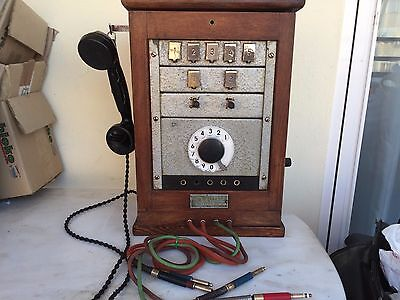 Antique   Switchboard Wood Telephone system (CRANK PHONE)