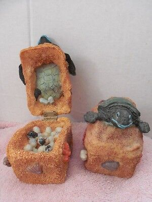 """PAIR OF HINGED RESIN TURTLE BOXES w/EGGS INSIDE - 3"""" LONG - LOT #52"""