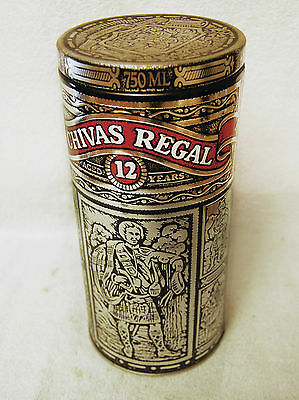 Chivas Regal 12 Year Scotch Whisky Collectible Silver Metal Tin (EXC)