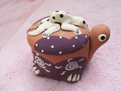 """TERRA COTTA TURTLE CANDLE & HOLDER w/LIZARD ON COVER - 3"""" LONG - LOT #52"""