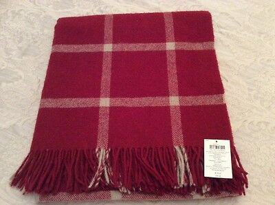 Laura Ashley Northwood Checked Cranberry Blanket Throw BNWT RRP £90