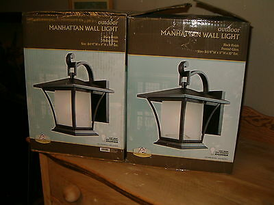 2 Patriot Lighting, Manhattan outdoor wall lights, black Finish, frosted glass