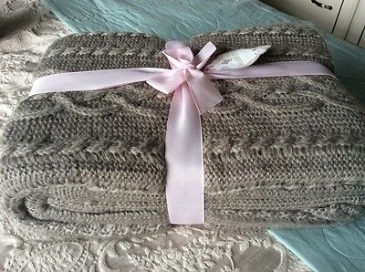 House of Fraser Shabby Chic Mink Cable Knit Throw BNWT RRP £75