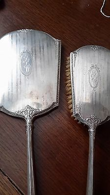 L❤❤k Beautiful Sterling Silver Brush And Mirror Vanity Set with initials