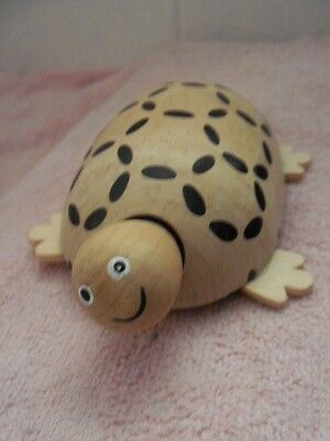 """Wood Turtle Figure On Wheels - Head & Tail Move In And Out - 6"""" Long - Lot #53"""